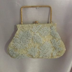 ✨Vintage 50s Gold Handle Pearl Beaded Purse